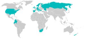 Map of worldwide distribution of Whirling Disease