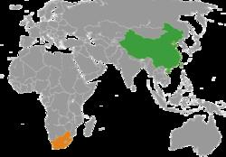 China和South Africa在世界的位置