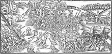 Medieval drawing of warring armies