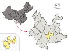 Location of Tonghai within Yunnan (China).png