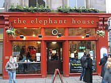 """""""The Elephant House"""", a small, painted red café where Rowling wrote a few chapters of Harry Potter and the Philosopher's Stone"""