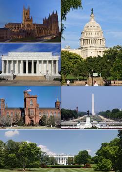 从左上方逆时针依序为:华盛顿国家座堂、林肯纪念堂、史密森尼学会大楼、白宫、华盛顿纪念碑、美国国会大厦