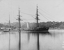 Three-masted armoured warship