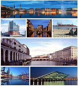 第一行:内阿尔斯特湖;第二行:易北爱乐厅、仓库城、易北河;第三行:阿尔斯特河;第四行:汉堡港、港口办公楼