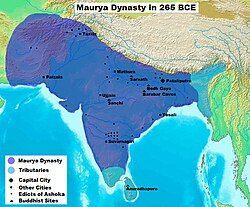 孔雀帝国的最大疆域范围(深蓝),包括附庸国(浅蓝)。