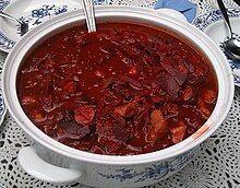 A tureen of thick borscht