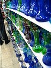 A display of Hebron glass at a shop in Hebron.