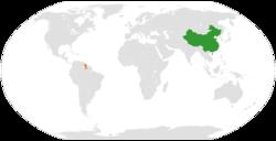 中国和圭亚那在世界的位置