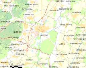 塞莱斯塔市镇地图