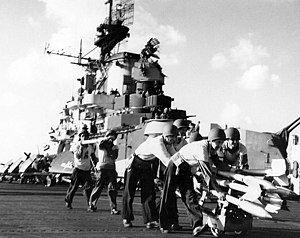 Moving rockets aboard USS Hancock (CV-19), October 1944.jpg