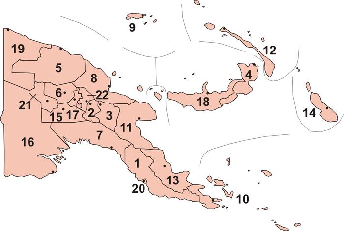 巴布亚新几内亚行政区划图