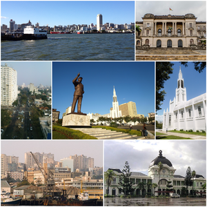 Clockwise, from top: Maputo skyline, Maputo City Hall, Our Lady of the Immaculate Conception Cathedral, Maputo Railway Station, Port Maputo, Avenida 24 de Julho, and the Samora Machel Statue in Independence Square