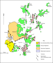 A map of the geology of Orkney. Hoy to the south-west is predominantly formed from Hoy/Eday Sandstones. The Mainland at the centre is largely Stromness flagstones with Rousay flagstones to the east. The smaller North and South Isles are a mixture of Eday and Rousay sandstones.