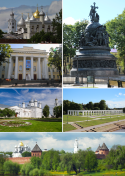 Counter-clockwise from top right: the Millennium of Russia, cathedral of St. Sophia, the fine arts museum, St. George's Monastery, the Kremlin, Yaroslav's Court