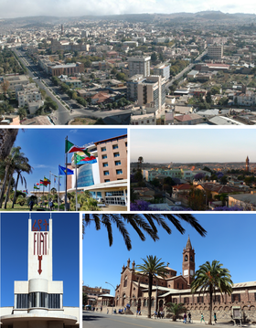 Clockwise from top: Cityscape, Sunset view over Asmara, Church of Our Lady of the Rosary, Fiat Tagliero Building sign, 23d ISCOE East Africa conference in Asmara 2019
