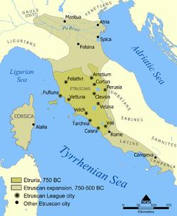 Extent of Etruscan civilisation and the twelve Etruscan League cities.