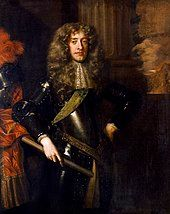 Formal three quarter length portrait of James aged about thirty. He has a long face with large cleft chin and red lips. He has long blonde hair and poses in black armour, with a brocade sash and lace cravate and clasped a baton in his right-hand.