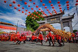 Dragon dance or Liong attraction during CNY in Indonesia