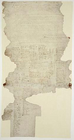 A torn sheet of paper; an original copy of the treaty