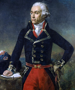 Painting of a determined-looking man who is standing with his left hand on his hip and his right hand on a table. He wears a dark blue double-breasted military coat with red breeches. His hair or wig in the style of the late 18th century, powdered white and curled at the ears.