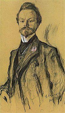 Portrait of Konstantin Balmont by Valentin Serov. 1905.