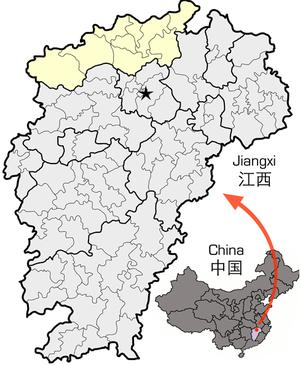图中高亮显示的是九江市