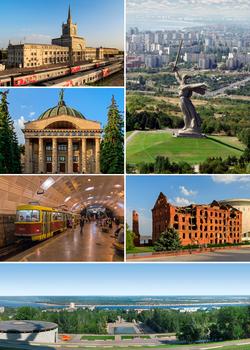 逆时针方向,从右上角开始:祖国母亲在召唤、伏尔加格勒1号站,伏尔加勒天文馆、电车、马马耶夫山岗、格加德的磨坊(俄语:Мельница Гергардта)