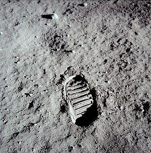 Buzz Aldrin's bootprint on the Moon.