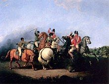 A close-up of a cavalry melee on large horses with sabers and pistols drawn; Three redcoats center-right are engaging two Patriots in blue along with an African-American in a brown linen shirt and white pants, with his pistol drawn and leveled at a redcoat.