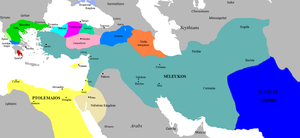 The Seleucid Empire (teal) in 281 BC on the eve of the murder of Seleucus I Nicator