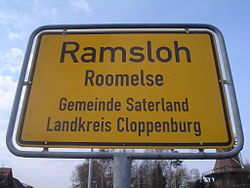 Bilingual sign in Saterland (Germany)