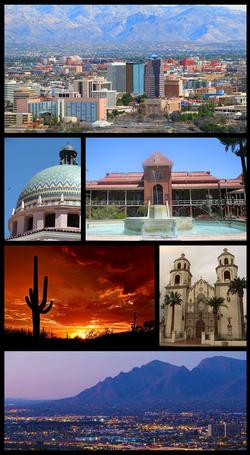 从左上角至右下角:图森市中心的天际线,皮马县法院,亚利桑那大学,萨瓜罗国家公园,圣奥古斯丁大教堂,圣卡塔利娜山