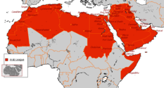 Map of northern Africa and the Middle East indicating the members of the Arab League.