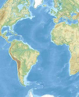 1755年里斯本大地震在大西洋的位置