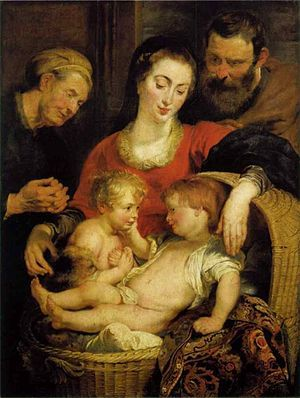 The baby Jesus reclines in a wicker basket while caressing the face of a baby John the Baptist with his right hand. Mary drapes her arms around the basket, while Joseph looks on behind at right and Saint Elizabeth at left.