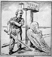 """Cartoon of Einstein, who has shed his """"Pacifism"""" wings, standing next to a pillar labeled """"World Peace"""". He is rolling up his sleeves and holding a sword labeled """"Preparedness""""."""