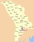 Map of Moldova highlighting Basarabeasca District