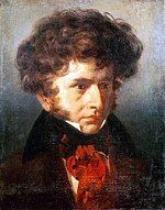 painting of young white man with abundant curly brown hair and side-whiskers, wearing bright red cravat