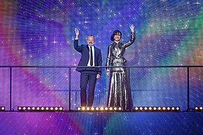 Photograph of hosts Graham Norton and Petra Mede at Eurovision Song Contest's Greatest Hits