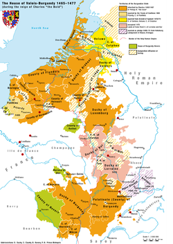 The Burgundian State at its greatest extent, under Charles the Bold