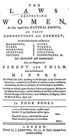 """Title page reads, in part """"The Laws Respecting Women, as they regard their Natural Rights, or their Connections and Conduct; In which their Interests and Duties are Daughters, Wards, Heiresses, Spinsters, Sisters, Wives, Widows, Mothers, Legatees, Executrixes, &x. Are ascertained and enumerated: Also, the Obligations of Parent and Child, And the Condition of Minors...."""""""