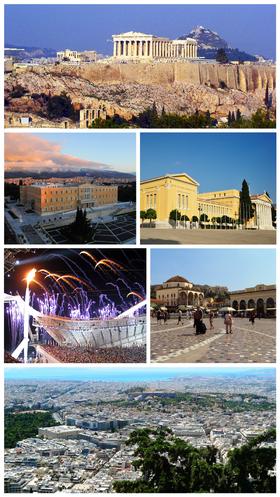 自左上:雅典卫城、希腊议会、扎皮翁宫、卫城博物馆、蒙纳斯提拉奇广场、雅典全景