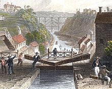 A painting of the Erie Canal, depicted in 1839.