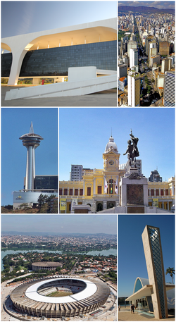From the top, clockwise: Tiradentes Palace in the Administrative City, the seat of the Minas Gerais government; panorama of Avenida Afonso Pena with the Serra do Curral in the background; statue of the Monument to Civilization Mineira, in Rui Barbosa Square, with the Museum of Arts and Crafts; Church of Saint Francis of Assisi, part of the Pampulha Modern Ensemble; Mineirão stadium with the Lake Pampulha in the background and the Alta Vila Tower, on the border with the municipality of Nova Lima
