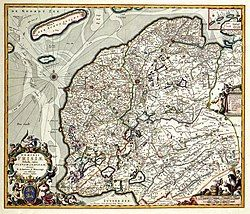 Lordship of Frisia 1680, divided into quarters Westergo, Oostergo, Zevenwouden, Steden