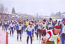 large crowd of skiers participating in the marathon