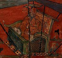 彩绘人物故事漆屏中的汉成帝