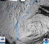 Hurricane Sandy is seen via satellite.
