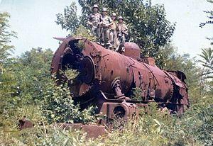 因1950年朝鲜战争而遗留在站内的蒸气机车(2005年已移至临津阁保存展示)