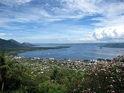 Rabaul from the Vulcanology Observatory, with the old town to the left and the new town to the right